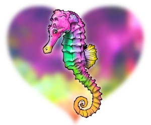 The seahorse (l'hippocampe) that Callaghan drew for me. Eyelashes! It's a girl!