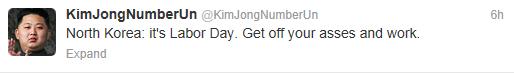KimJongNumberUnTwitterFeedCaptureLaborDay2013