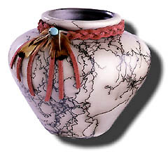Handmade horsehair pot by Navajo artist Geraldine Vail, available for purchase for $69.00 on aztradingpost.com