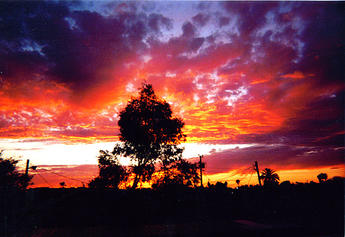 """This was my favorite sunset, and I remember it well... I came home from work to my Tempe apartment and went straight out to the balcony to take this picture. Pink Floyd's """"High Hopes"""" was playing."""