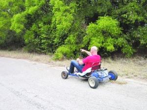 Callaghan on the go-kart!