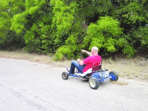 Callaghan on the go-kart!