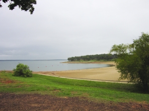 Overlooking the beach at Ray Roberts Lake