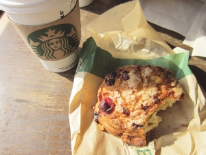 A rare treat: Saturday breakfast out. Coffee and a blueberry scone at Starbucks (the vegan scone was from WF)