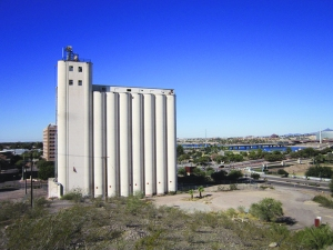 The mill with Tempe Town Lake in the background.