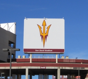 Arizona State University's Sun Devil Stadium, down the street from our apartment. We get to hear the fireworks when the Devils score, and that's a lot these days!