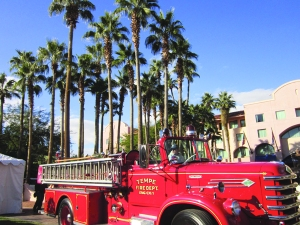 We weren't allowed to photograph the artists' work, so here's a pic of a fire truck from 1959, instead (in front of the Mission Palms hotel)