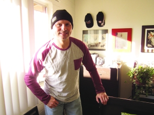 This morning - Callaghan modeling his new beanie!