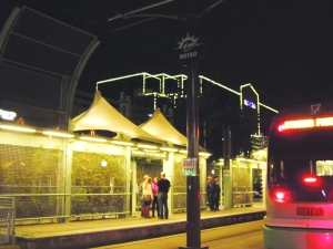 Walking by the light rail station at 3rd St.