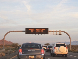"You know you're in AZ when you start seeing these helpful DUI prevention signs on the highway... ""Drive Hammered. Get Nailed."" Oh, Arizona! haha"