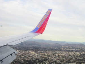 Flying home to Phoenix over southern California