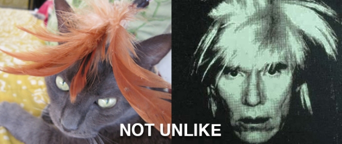 Ronnie James (aka Wrah-Wrah) on the left. Andy Warhol on the right. = Andy Wrah-Wrah. NOT UNLIKE.