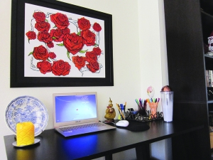 My little office area, now alive with roses that will never die!