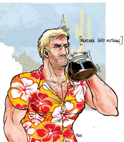 Callaghan's drawing of Jack Reacher, as described in the novels.