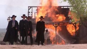 From left: Val Kilmer as Doc Holliday, Sam Elliott as Virgil Earp, Bill Paxton as Morgan Earp and Kurt Russell as Wyatt Earp in Tombstone (1993)