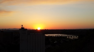 Sunset beyond the Hayden Flour Mill and Tempe Town Lake
