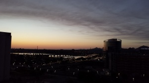Tempe at dusk, between the sunset and nightfall