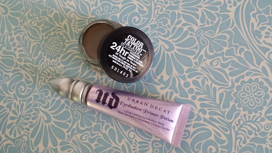 Tough as Taupe Color Tattoo by Maybelline over Urban Decay Eyeshadow Primer Potion.
