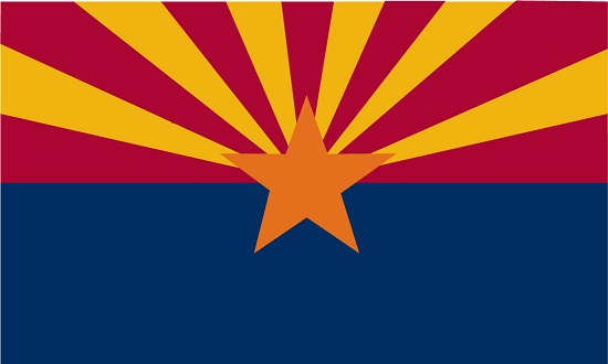 The AZ flag with its copper star and sunset rays. (AZ is famous for its copper mining industry and sunsets.)