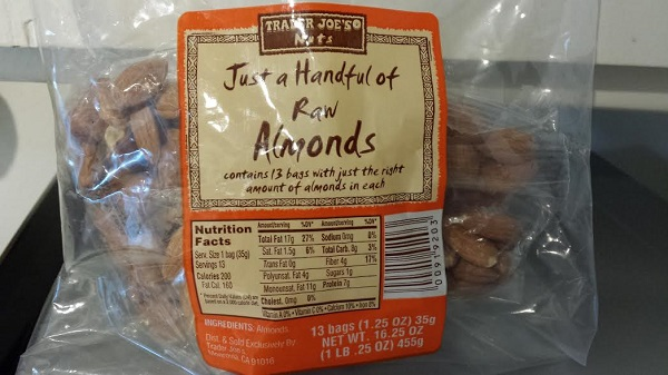 Big bag of smaller, individually-wrapped portions of raw almonds... measuring not required. =)