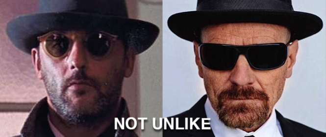 """VICTOR, NETTOYEUR"" on the left. Heisenberg on the right. NOT UNLIKE."