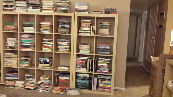 Book piles in the living room.
