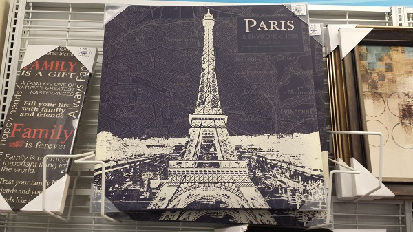 The Eiffel Tower on canvas.