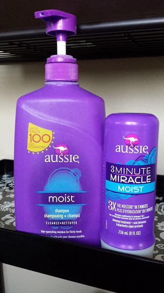Aussie Moist shampoo and 3 Minute Miracle Moist conditioner