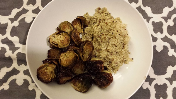 Roasted Brussels sprouts with quinoa