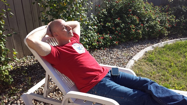 Soaking up the rays in a t-shirt on the second day of winter.