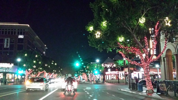 Mill Avenue lit up in holiday lights.