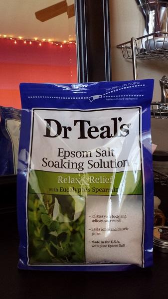 Dr. Teal's Epsom Salt Soaking Solution with Eucalyptus Spearmint.