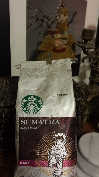Ground Sumatra coffee beans from Starbucks.