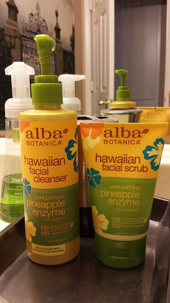 Alba Botanica Hawaiian Facial Cleanser Pore Purifying Pineapple Enzyme  and Hawaiian Facial Scrub Pore Purifying Pineapple Enzyme.