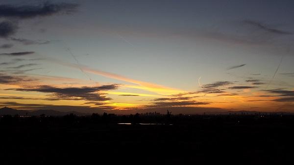 Dusk over the Phoenix skyline (Papago Park, Tempe, 2/19/2015)