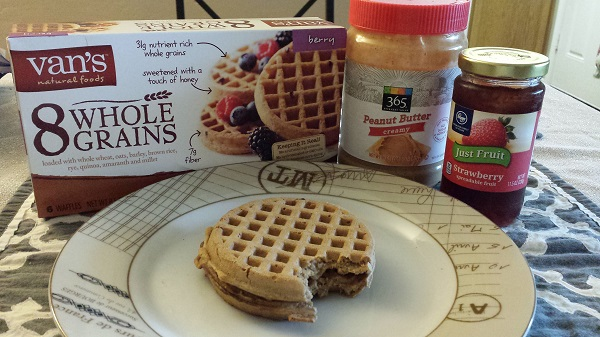 Van's 8 Whole Grains waffles with 365 creamy peanut butter and Kroger Just Fruit (no sugar added) strawberry jam.