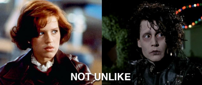 Molly Ringwald in The Breakfast Club on the left. Johnny Depp as Edward Scissorhands on the right. NOT UNLIKE.