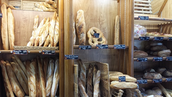 Some of the bread inside of our favorite boulangerie in Nice.