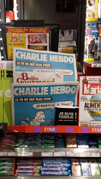Charlie Hebdo at the news stand, still going strong!