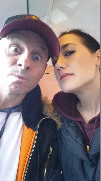 In our usual selfie pose. We're on the train again, en route to visit relatives.