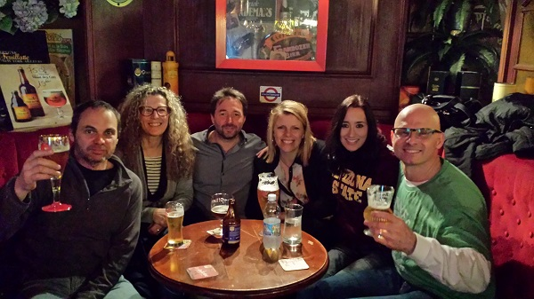 With friends at the Big Ben pub in Nice.
