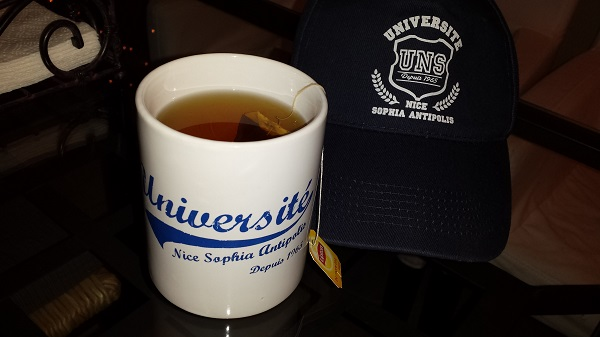 Mug and hat from my friend in Nice who works at L'Université Nice Sophia Antipolis.