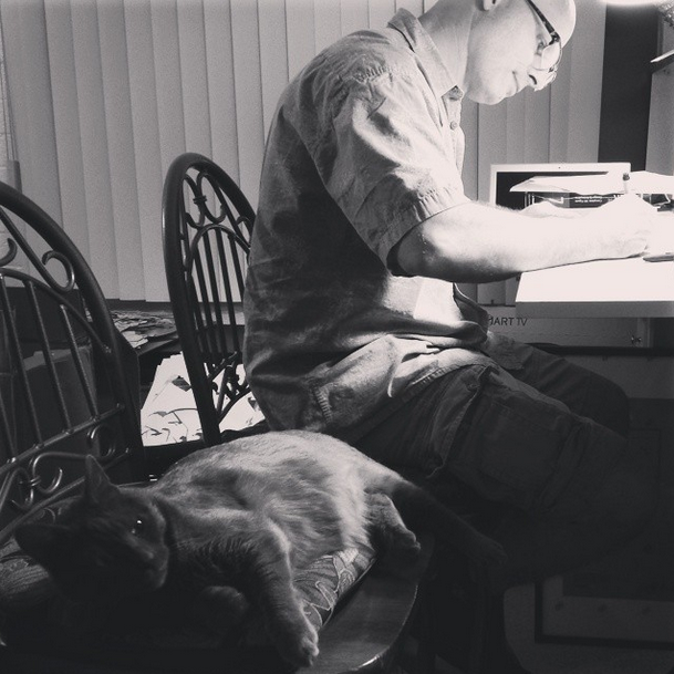 June 2014. Ronnie James often kept his Daddy company in the studio (Callaghan would place the second bar-stool there just for him). This was still back in our old apartment.