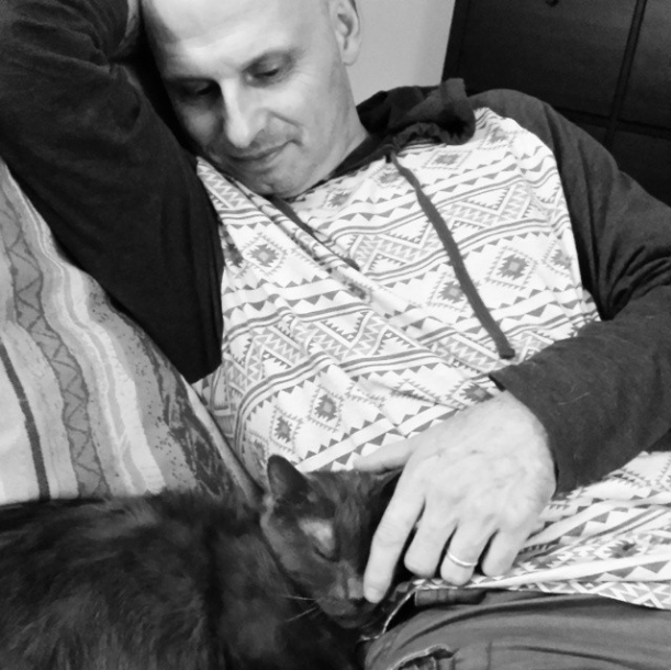 November 2014. Ronnie James was never happier than when being snuggled by me, Callaghan, or Nounours.