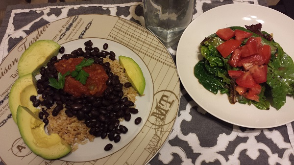 This was a quick and easy dinner of brown rice, black beans, salsa, and avocado, with a salad on the side.