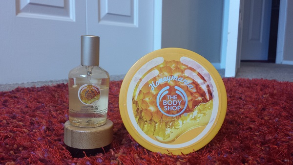 Honeymania by The Body Shop (eau de toilette and body butter). I also have the Honeymania shower gel.
