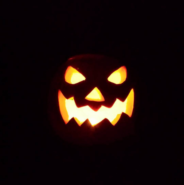 The spooky jack-o'-lantern we light in our bedroom every night.