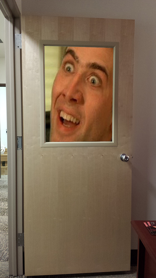 Office as Nicolas Cage magnifier.