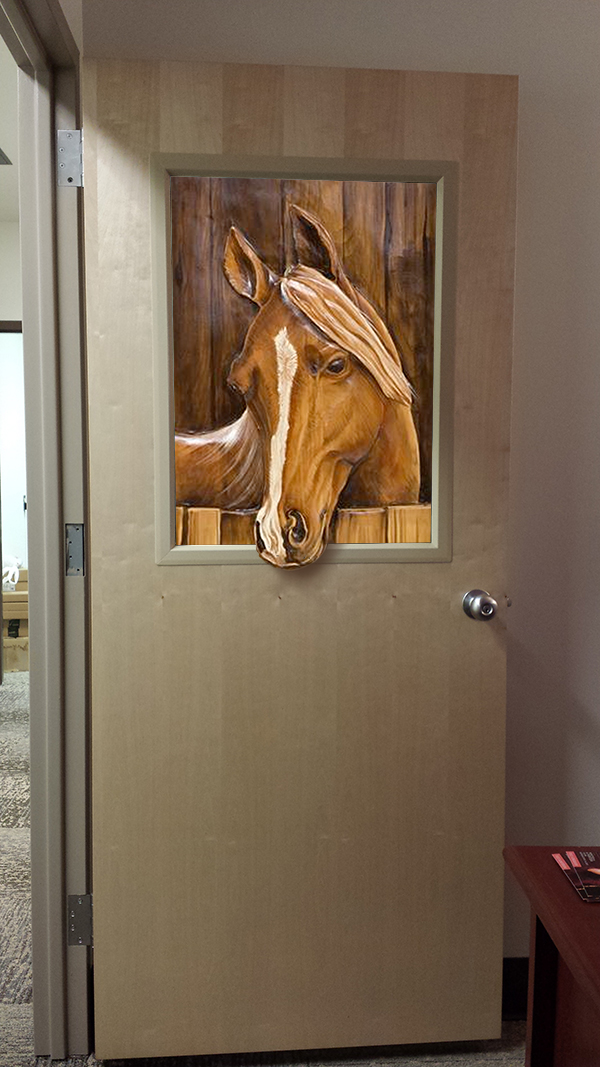 Office as horse stable.