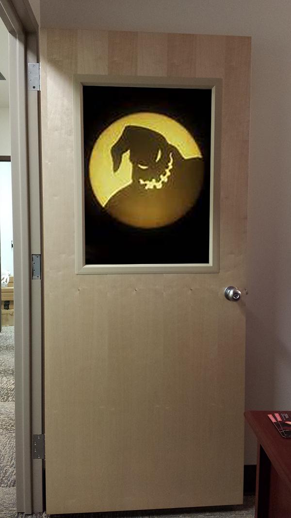 Office as Oogie Boogie's lair in Nightmare Before Christmas.